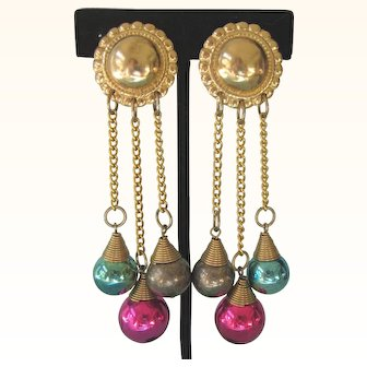 Festive 1980's Long Dangle 'Ornament' Earrings