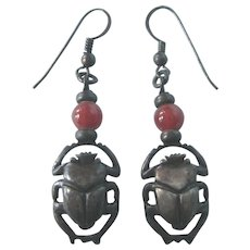 Fabulous Sterling Scarab Pierced Earrings With Carnelian Bead