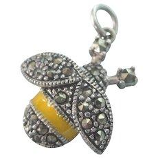 Sterling Marcasite & Enamel Bee Charm or Pendant