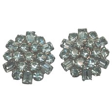 Dazzling Signed Weiss Blue Rhinestone Oversized Clip Earrings