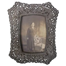 Scarce Victorian Ornate Metal Picture Frame - Beautiful!