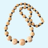 """Art Deco Crved Bone and Black Glass 17-1/2"""" Necklace, Original Clasp"""