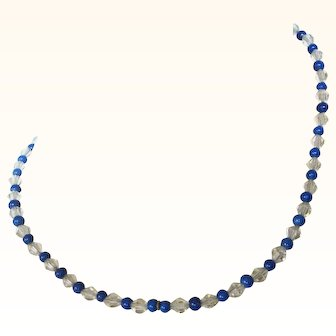 "Art Deco Delicate Crystal and Blue Bead 16-1/2"" Necklace"