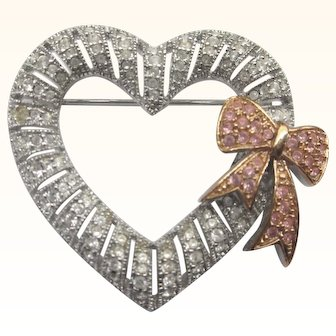 Romantic Joan Rivers Heart and Pink Bow Rhinestone Pave Brooch
