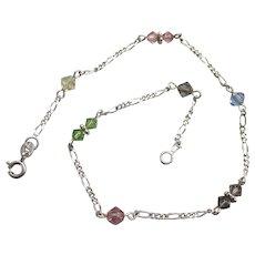 "Pretty Sterling and Pastel Crystal 10-1/2"" Anklet Ankle Bracelet"