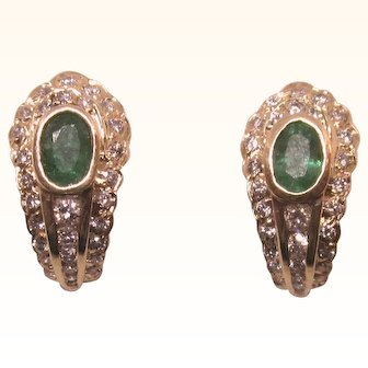 Exquisite 14K Emerald and Diamond Pave Yellow Gold Pierced Earrings