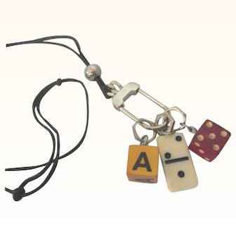 Fun Vintage Game Dice and Domino Long Pendant Necklace