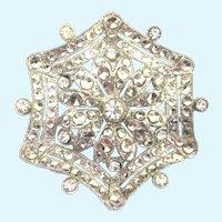 Art Deco Sterling Spider Web Brooch With Rhinestones