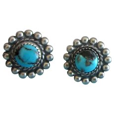 Vintage Petite Sterling and Turquoise Clip Back Earrings