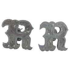 Vintage Sterling Initial 'R' Cufflinks With Etched Detail
