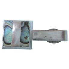 Sterling Eagle 3 Mexican Tie Bar With Inlaid Abalone