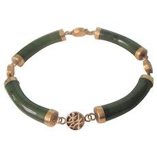 """Vintage 14K Gold Jade Segment 8"""" Bracelet With Good Fortune Symbols"""