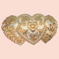Vintage Signed Crumrine Triple Heart Huge Belt Southwestern Buckle - Pristine!!