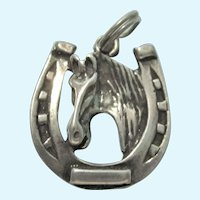 Vintage Sterling Silver Horse and Horseshoe Charm Pendant