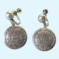 Vintage Signed Sterling Mayan Calendar Screw Back Dangle Earrings, Mexican Eagle Mark, Signed A.V.B.