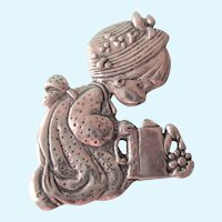 Charming Vintage Sterling Brooch - Girl With Watering Can