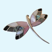 Gorgeous Sterling Silver Inlaid Butterfly Brooch