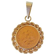 Beautiful 22K Gold Dos Pesos 1945 Mexican Coin in 14K Gold Bezel and Bale Pendant
