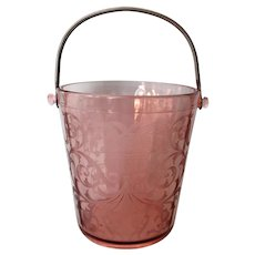Vintage Pink Cambridge Glass Urn Pattern Handled Ice Bucket