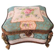 Antique Porcelain and Ormolu Gargoyles Large Hand Painted Hinged Box