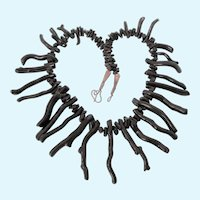 """Fabulous Black Branch Coral and Sterling 19-1/2"""" Graduated Necklace"""