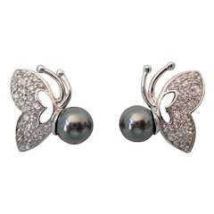 Lovely Sterling Pave and Gray Faux Pearl Butterfly Pierced Earrings