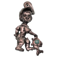 Vintage Sterling and Turquoise 'Boy Gone Fishing' 3-D Charm