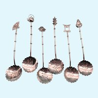 Japanese Figural 950 Silver 6-Piece Demitasse Spoon Set, Sterling Silver, 33.12 Grams