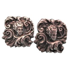 Antique Sterling Repousse Ornate Screw Back Earrings