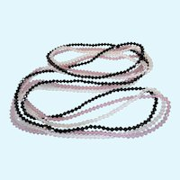"Art Deco Set of Three Pink, Black and Crystal 35"" Rope Necklaces - Fine Gauge Crystals"