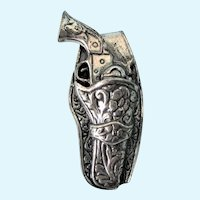 Vintage Sterling Gun and Holster Bolo Clip