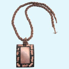 Lustrous Mother of Pearl and Copper Seed Bead Pendant Necklace