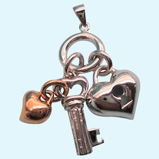 Gorgeous Sterling and Vermeil Heart and Key 'Charms' Pendant