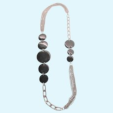 "Stunning Asymmetric Black Enamel Silvertone 32"" Rope Necklace"