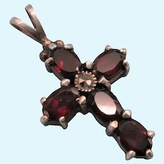 Lovely Sterling and 2.5 TCW Garnet Gemstone Cross Pendant