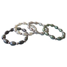 Honora Pearl and Sterling Set of 4 Stacking Stretch Rings - White, Gray, Black