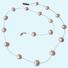 "Lovely Honora Champagne Freshwater Pearl and Sterling 18"" Necklace"