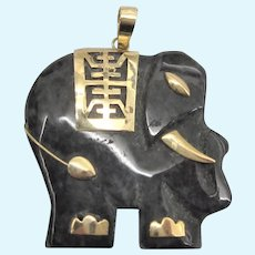 Vintage 14K Dark Spinach Jade Carved Elephant Pendant