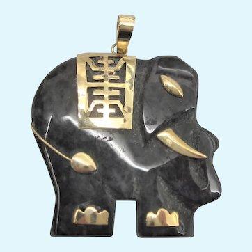 Vintage 14K Dark Spinach Jade Carved Elephant Pendant