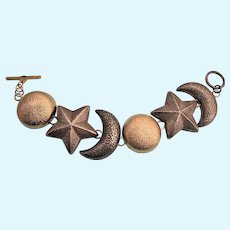 Unusual Chunky Sun, Moon & Starts Link Bracelet With Toggle