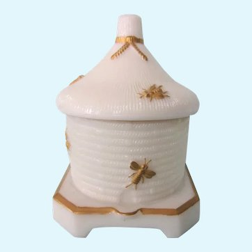 Lovely Imperial Glass Bee Hive Honey Pot With Lid, Gilt Bees, c. 1950
