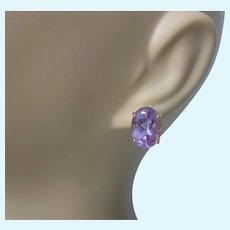 Spectacular 14K Amethyst Gemstone 8 TCW Large Stud Pierced Earrings, 5.47 Grams