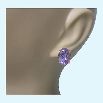 Spectacular 14K Amethyst Gemstone 8 TCW Large Stud Pierced Earrings, 5.47 Grams