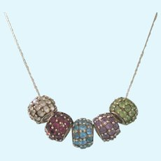 "Gorgeous 10K Gold 5 Multi-Gemstone Rondelle Pendant on 18"" 10K Chain, 14.84 Grams!"
