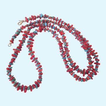 """Fabulous 36"""" Turquoise and Coral With Sterling Long Necklace or """"Chain"""""""