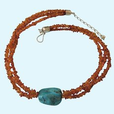 Stunning DTR Jay King Baltic Amber, Turquoise and Sterling Necklace, Desert Rose Trading
