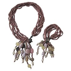Chunky Multistrand Bead Necklace and Bracelet Set