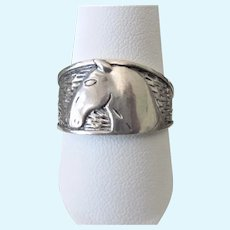 Handsome Vintage Sterling Silver Horse Textured Band Ring, Size 10-1/2