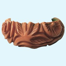Chunky Early Molded Plastic Floral Wide Bangle Bracelet