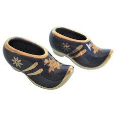 Limoges Vintage Pair of Miniature Cobale Porcelain Shoes